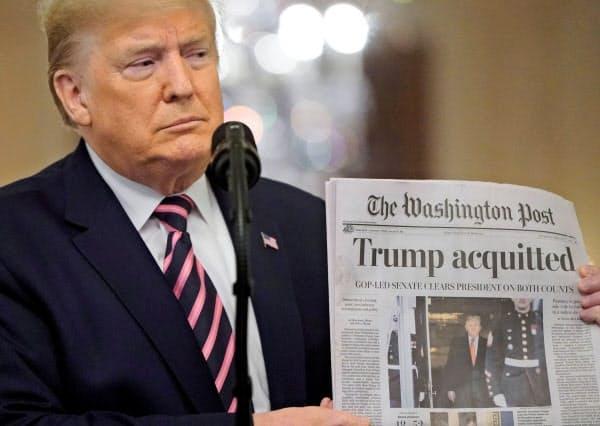 6日、トランプ米大統領は罷免に賛成した共和党のロムニー上院議員を批判した(ワシントン)=ロイター
