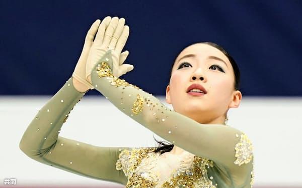 女子で連覇を果たした紀平梨花のフリー(8日、ソウル)=共同