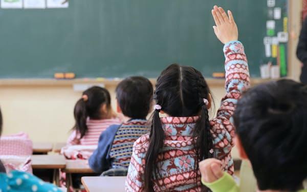 教室で手を上げる小学生