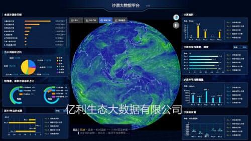 土壌や大気、水などの環境データを基にAIなどを使って自然環境を分析する(億利生態大数据提供)