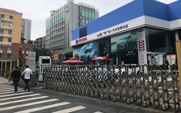 広東省広州市のトヨタ自動車の販売店は予約制で修理のみ対応し、本格的に再開していない(13日)