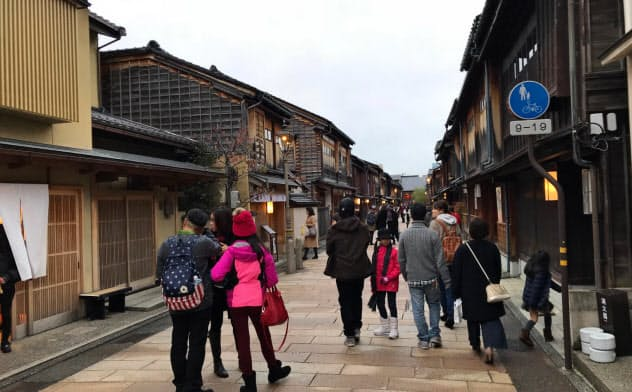 北陸を訪れる外国人観光客の比率は東京や京都を大きく下回る(金沢市)