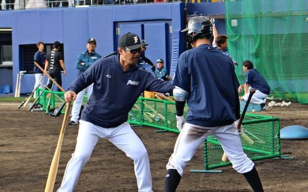 打線の底上げを託された小笠原コーチ(左)。寡黙な現役時代から一変、気さくに選手に話しかける