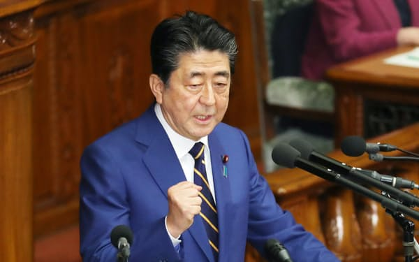 安倍首相の党総裁任期は2021年9月まで(1月、施政方針演説に臨む首相)