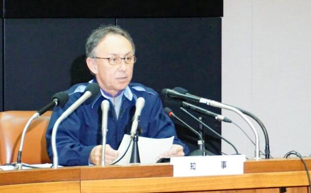 沖縄県内で新型コロナウイルス感染者が確認されたのを受け、玉城デニー知事は対策会議を開いた(14日、県庁)