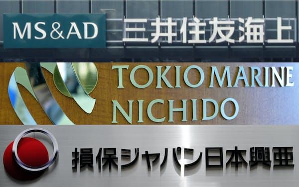 三井住友海上、東京海上、損保ジャパンのロゴ