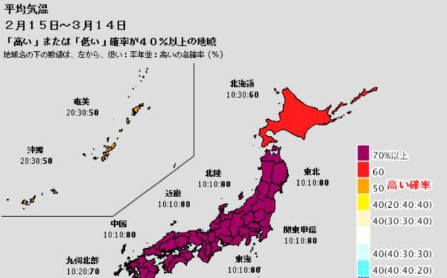 平均気温の1カ月予報。高温傾向はしばらく続く(気象庁発表)