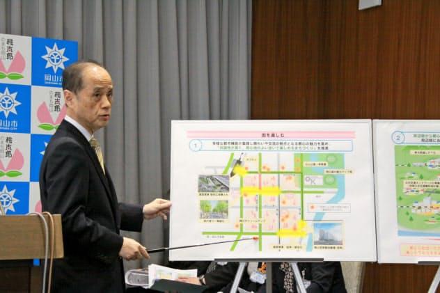 当初予算案について説明する岡山市の大森市長(17日)