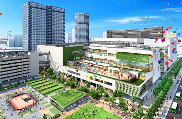 有明ガーデンの商業施設には約200店舗が入る(イメージ)