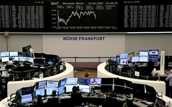 欧州株は最高値を更新した(独フランクフルト証券取引所)=ロイター