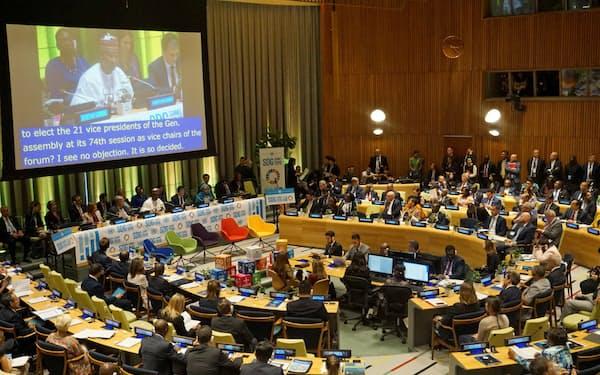 「持続可能な開発目標」(SDGs)で初の首脳級会合が開催されたニューヨークの国連本部(24日)