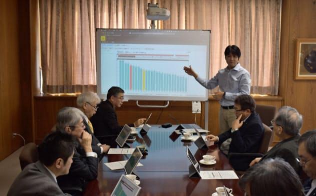 経営データをもとに議論する学長・副学長の定例ミーティング(1月、山形市の山形大学)