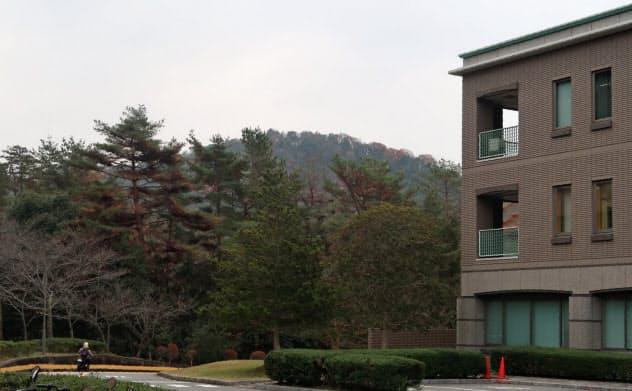土石流メカニズムの研究の場となる山は、大学本部のすぐ裏手にある(広島大)