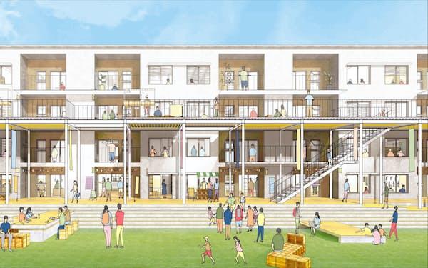 地元の高校生のアイデアを元にした富山県職員住宅の改修後のイメージ