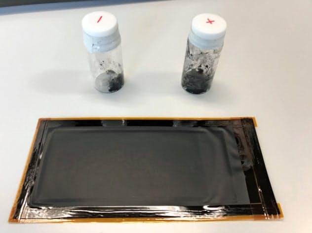 シート状の全樹脂電池は高い安全性と低コストが強み