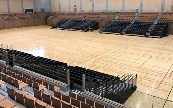 新総合体育館のメインアリーナは客席3000席を備える(広島県福山市)