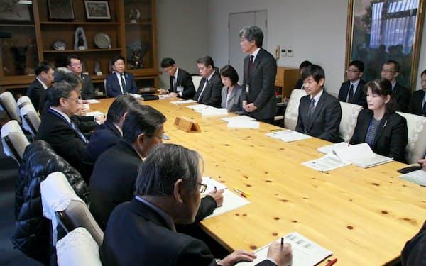 岡山県が開いた中小企業支援機関との情報共有会議(19日、岡山県庁)