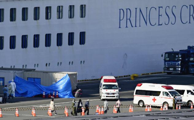 クルーズ船「ダイヤモンド・プリンセス」から下船した乗客ら(21日午前、横浜港)=共同