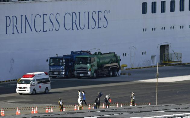 クルーズ船「ダイヤモンド・プリンセス」から下船し、船に向かって手を振る乗客(21日午前、横浜港)=共同