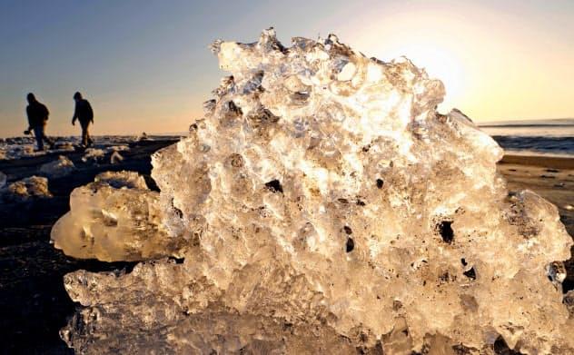 氷の「宝石」海岸覆う