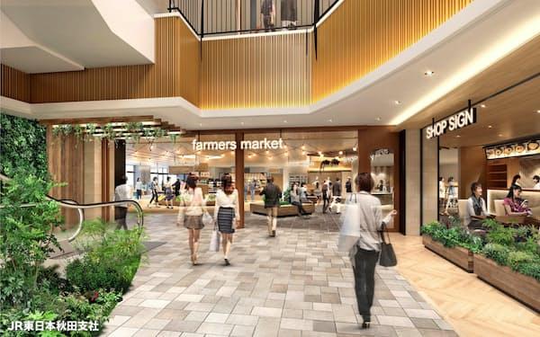 秋田駅ビル「トピコ」1階は回遊しやすいように改装する(イメージ)