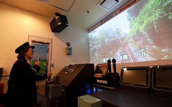 21日には大阪市の直営店で近鉄車両を再現したカラオケルームを開く