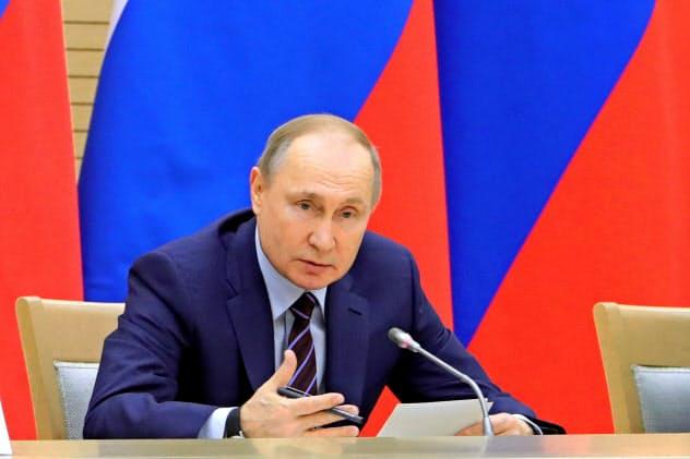 憲法改正案を提案したロシアのプーチン大統領=AP