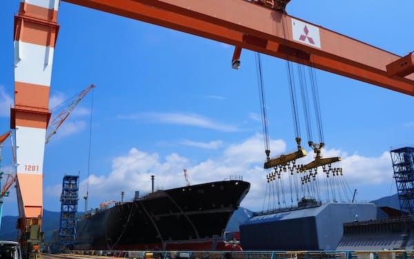 三菱重工の長崎造船所・香焼工場(長崎市)のドック