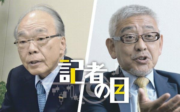 東芝機械の飯村幸生会長(左)と村上世彰氏