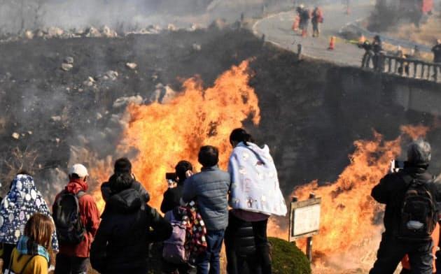 山口県美祢市の秋吉台国定公園で行われた山焼きを見守る観光客ら(23日)=共同