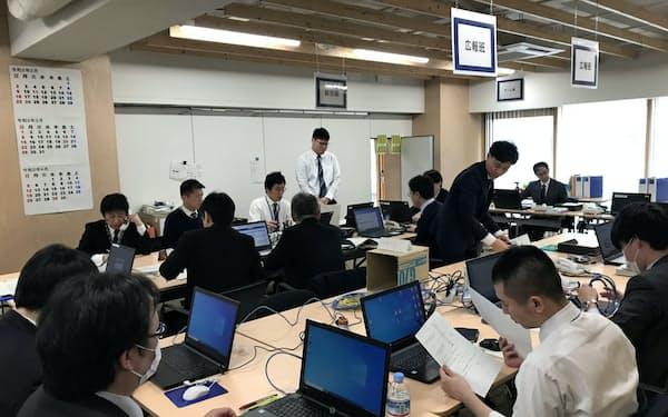 北海道が新たに設けた新型コロナウイルス感染症対策チーム(25日、北海道庁)