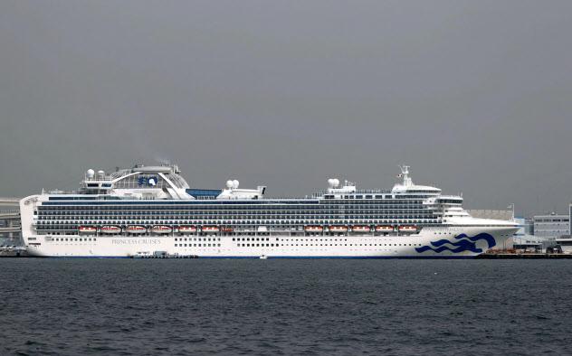 横浜港に停泊するクルーズ船「ダイヤモンド・プリンセス」(25日午前)=共同