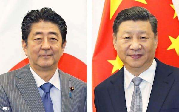 安倍晋三首相(左)、中国の習近平国家主席=共同