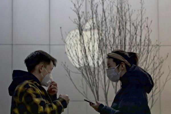 アップルの中国事業では表現の自由をめぐる課題も浮上している(写真は北京の店舗)=AP