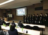 群馬銀行の3年目行員が制作したCMを発表した(21日、前橋市)