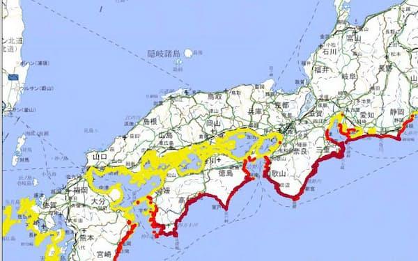 防災科研のシステムは、津波が来襲する確率を地図に示す