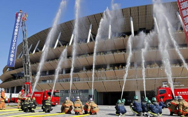 国立競技場で消防演習