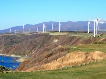 Jパワーはせたな町や上ノ国町で風力発電をおこなっている(せたな町)