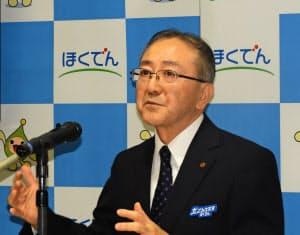北海道電力の藤井裕社長も洋上風力など再エネの普及に意欲をみせる(1月、札幌市)
