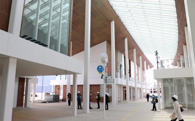 宮島口に新しい旅客ターミナルが29日オープンする(広島県廿日市市)