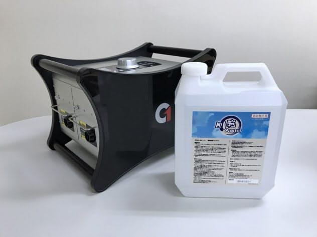 オゾン脱臭器「剛腕」の最上位機種(左)と脱臭補助剤