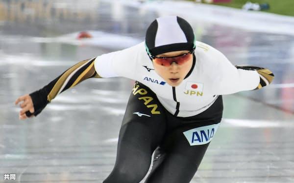 スプリント部門の女子で総合優勝した高木美帆の1000メートル2回目(29日、ハーマル)=共同