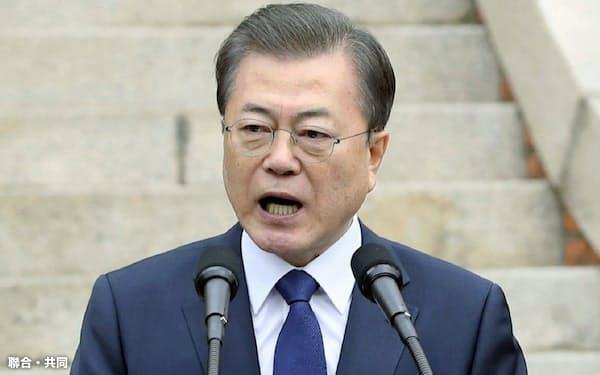 三・一独立運動の式典で演説する文在寅大統領(1日、ソウル)=聯合・共同