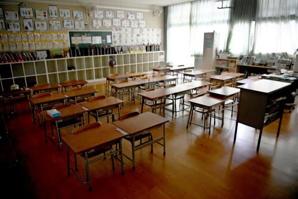 新型コロナウイルスの影響で休校となり、ひっそりとする小学校の教室(2日、大阪市内)=共同
