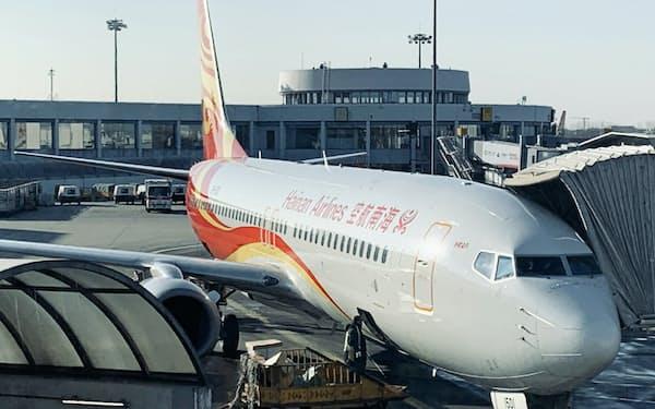 新型コロナウイルスの影響で、主力の航空事業が打撃を受けた(海南航空の航空機)