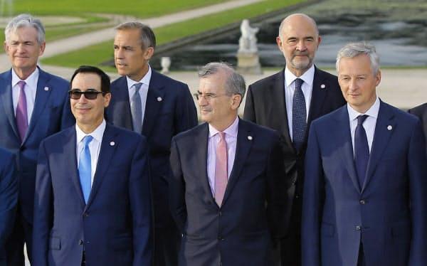 2019年7月、G7財務相・中央銀行総裁会議に出席した米欧中銀の首脳(フランス・シャンティイ)=AP