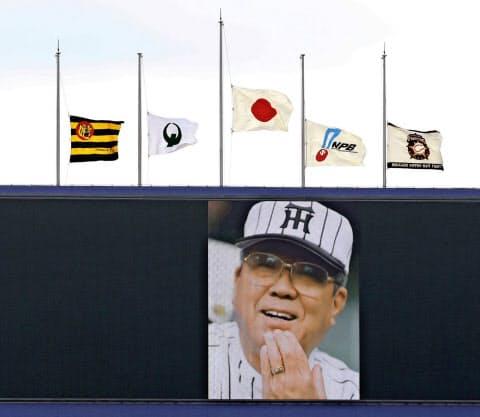 野球一途の生き方が愛された(訃報を受け、試合前に野村さんが映し出されたバックスクリーン、沖縄・名護)=共同