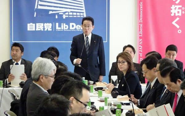 自民党は2020年度補正予算の検討を求める提言をまとめた(3日、党本部)