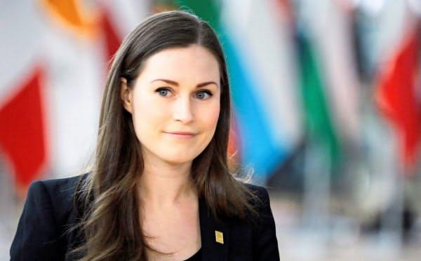 2月にブリュッセルで開いた欧州連合(EU)首脳会議に出席したフィンランドのマリン首相=ロイター