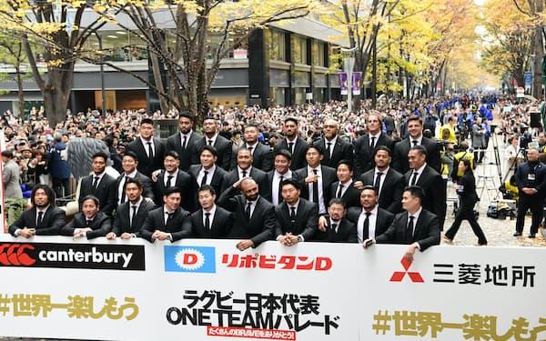 パレードを終えスポンサーのボードの前で記念写真に収まるラグビー日本代表(2019年12月)